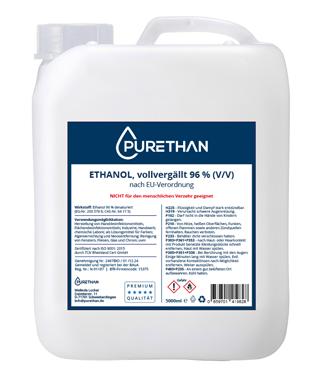 Ethanol & Desinfektionsmittel – Purethan stelle Premium Markenprodukte auf Basis reinst. Pharmaqualität (Ph.Eur.) her. Pharma Ethanol 96% (V/V) vergällt sowie Pharma Ethanol 99,8% (V/V) vergällt. Wir beliefern die verarbeitende Industrie sowie den Großhandel.
